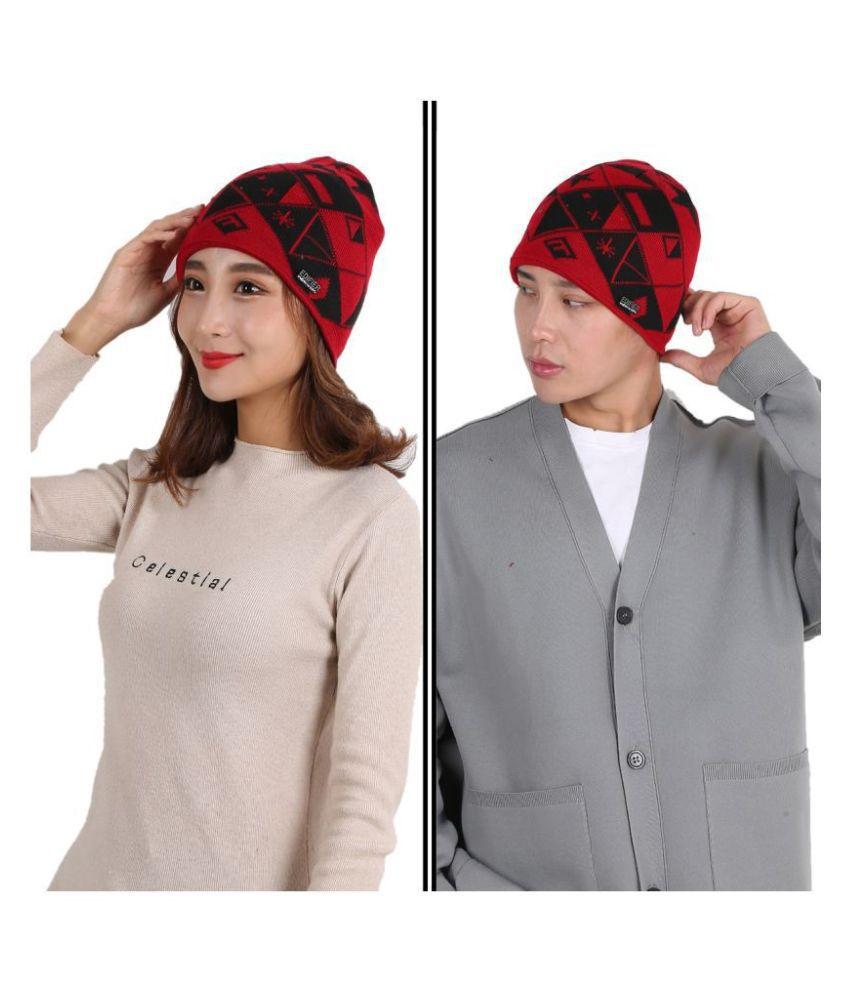 Edifier Woollen Winter Cap for Men & Women (Pack of 2)