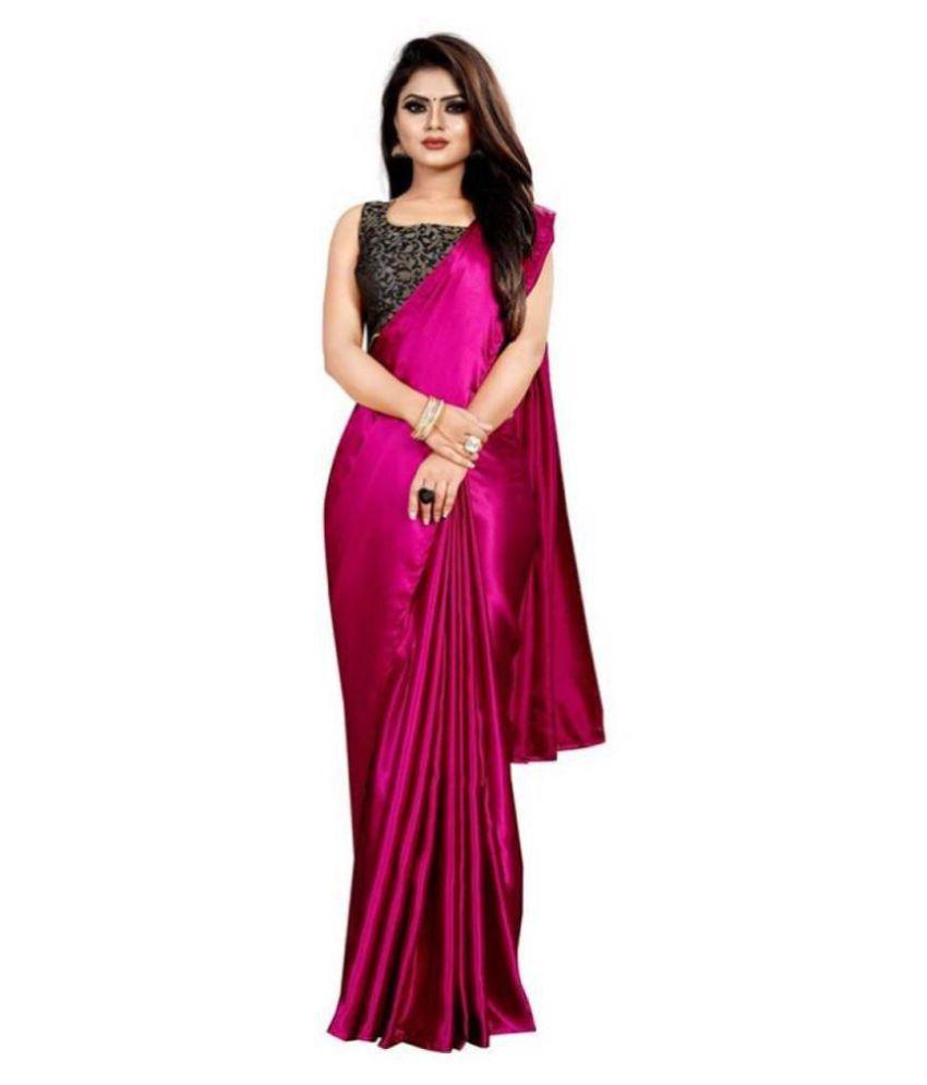 Janvi Fashion Pink Art Silk Saree