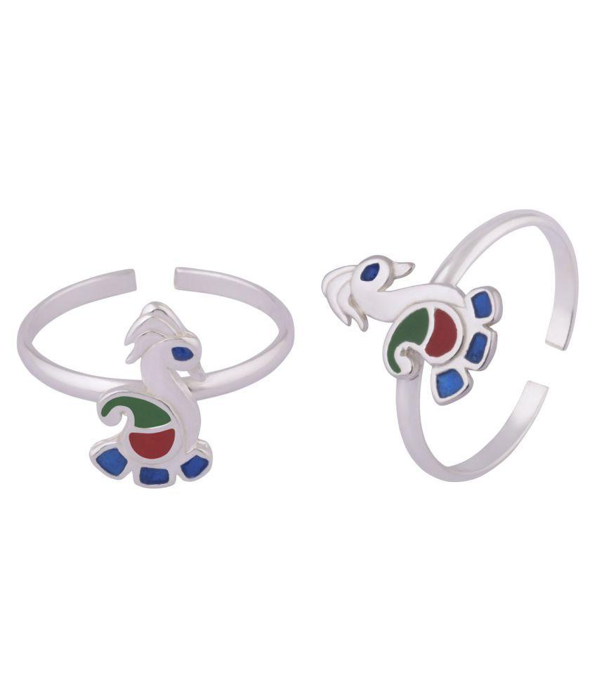 Peacock Silver Toe Ring-TRMX118