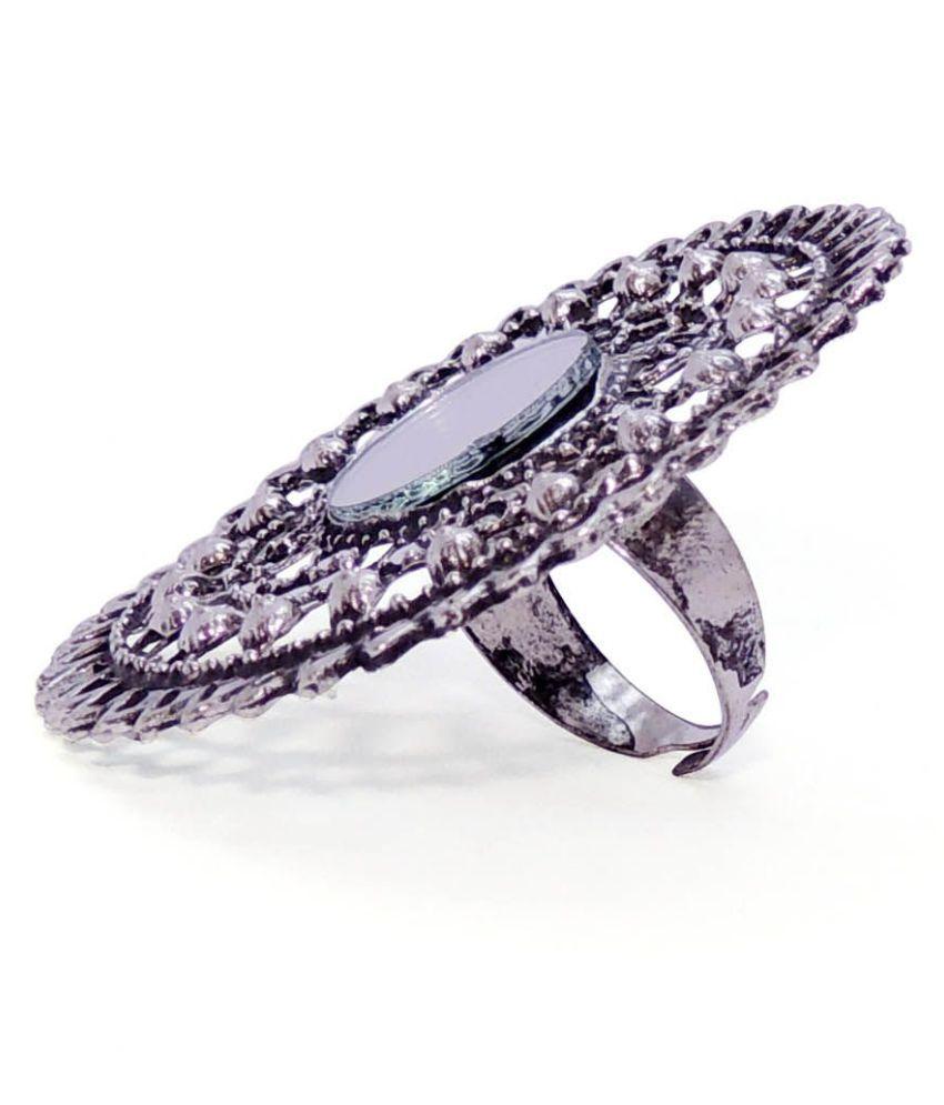 Satyamani Women's Oxidized Metallic Designer Party Wear Ring