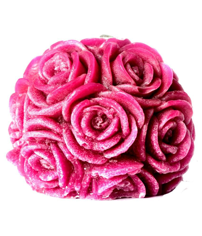 Kanha Ji Creations Purple Rose Ball Candle - Pack of 1