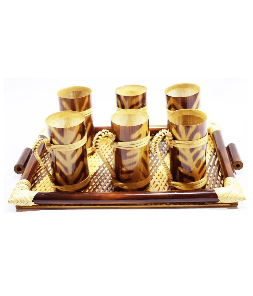 Bengal Handicrafts & Handlooms Bambbo BTRAY-130ml Self Stirring Coffee Cup 6 Pcs 130 ml