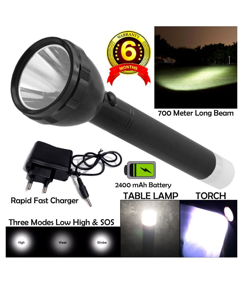 GLOBAL ART 2in1 KG 700M Range Long Beam 3 Mode Waterproof Chargeable LED Above 50W Flashlight Torch - Pack of 1