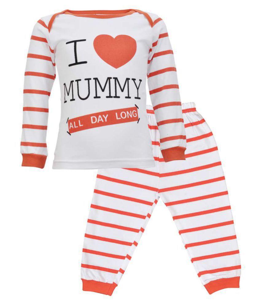 CATCUB Kids Love Mummy Combo Top & Pant Set (Red)