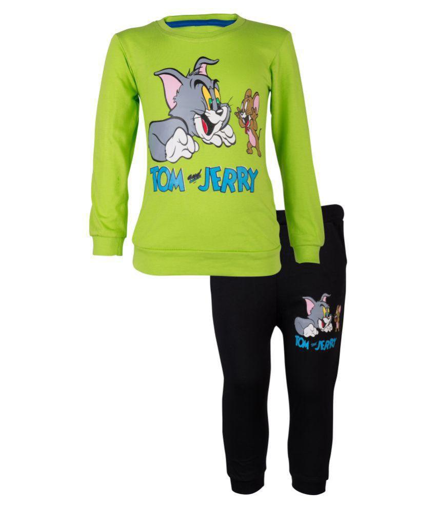CATCUB Kids Tom and Jerry Top & Pant Set (Green)