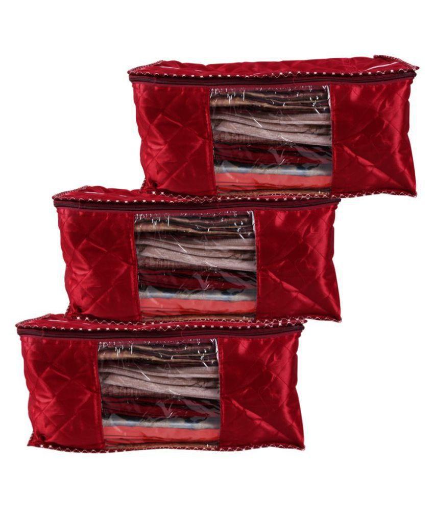 RAJA Red Saree Covers - 3 Pcs