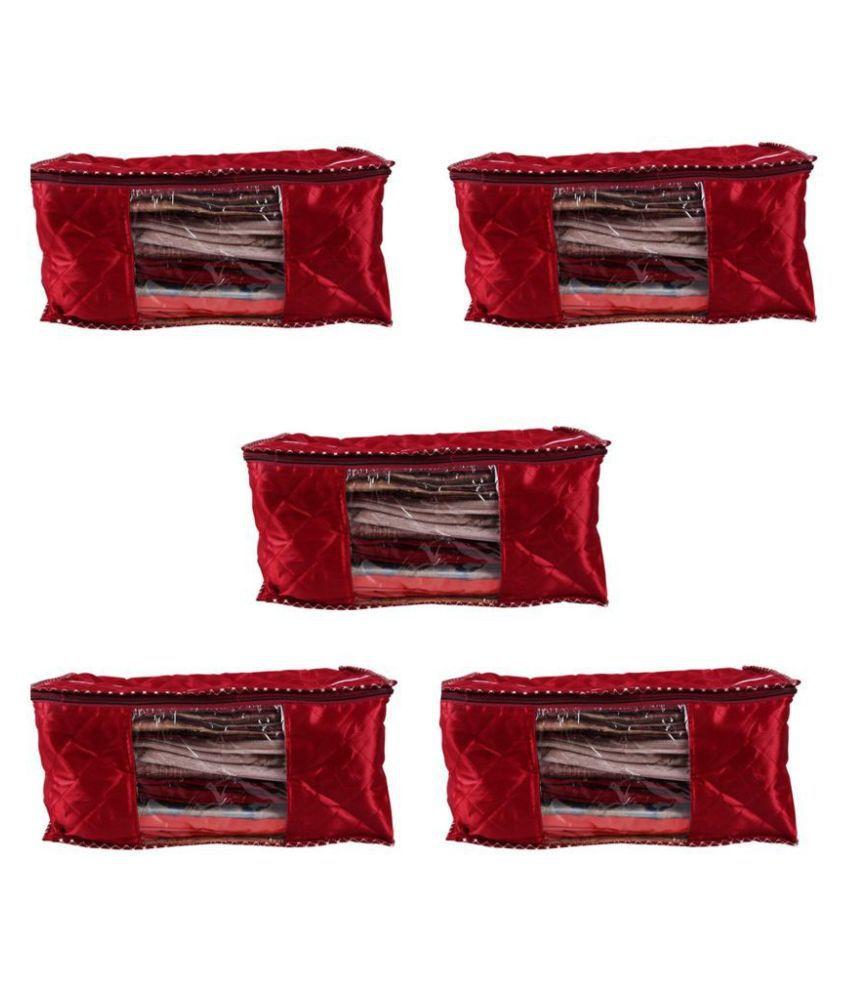 RAJA Red Saree Covers - 5 Pcs