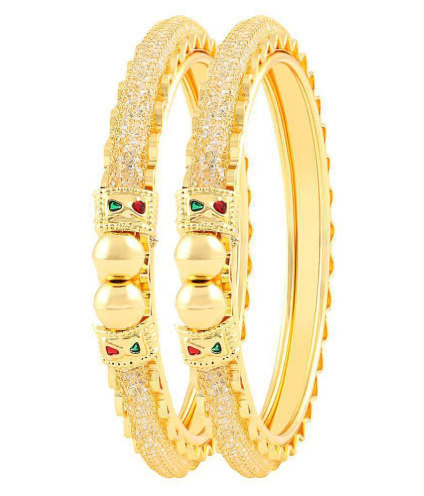 MJ Smoky One Gram Gold Plated Pack Of 2 Bangle For Women + Free Dangle Earring