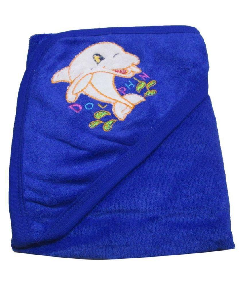 VBaby Blue Fleece Baby Blanket ( 73 cm × 73 cm- 1 pcs)