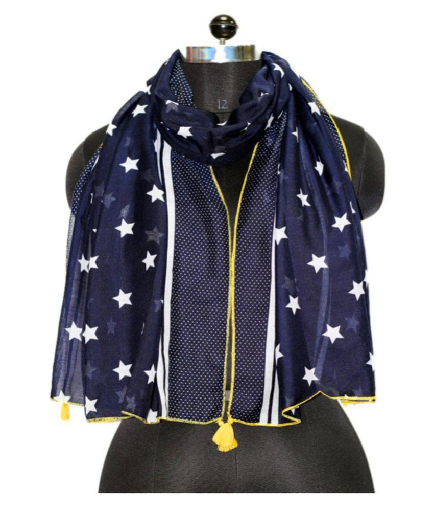 Belleziya Navy Printed Polyester Scarves