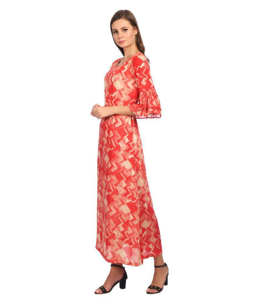 KAPOOR BROTHERS Cotton Red Regular Dress