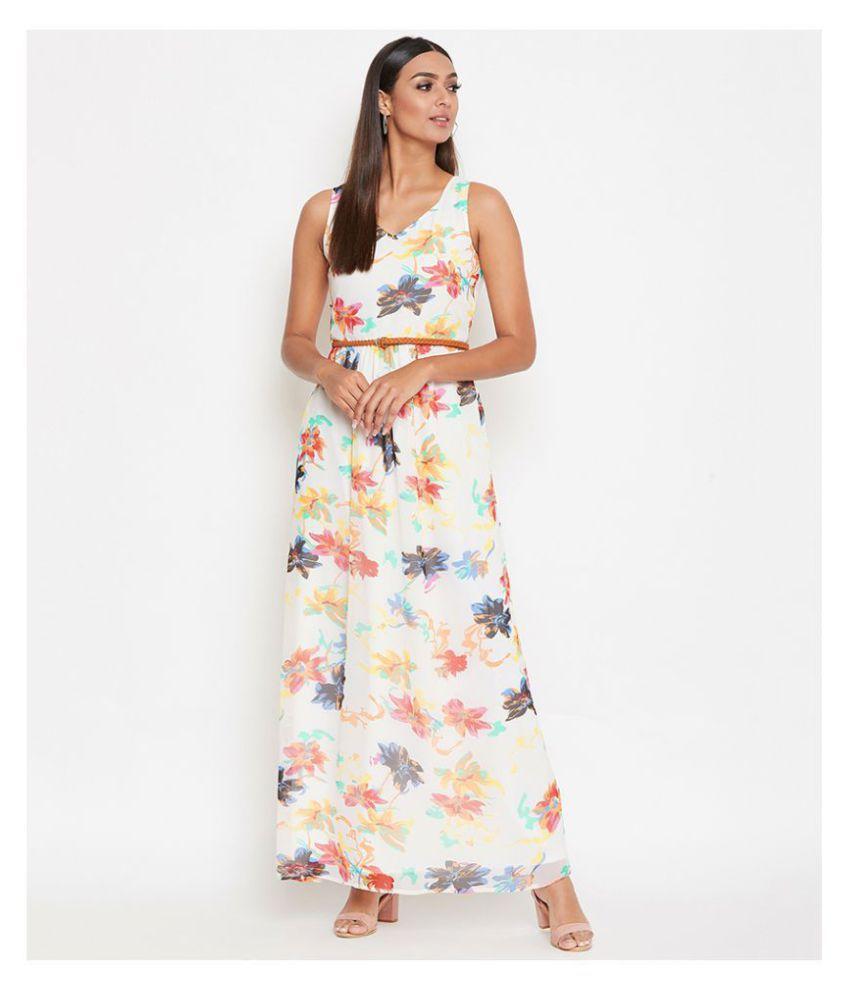 La Zoire Georgette Off White Regular Dress