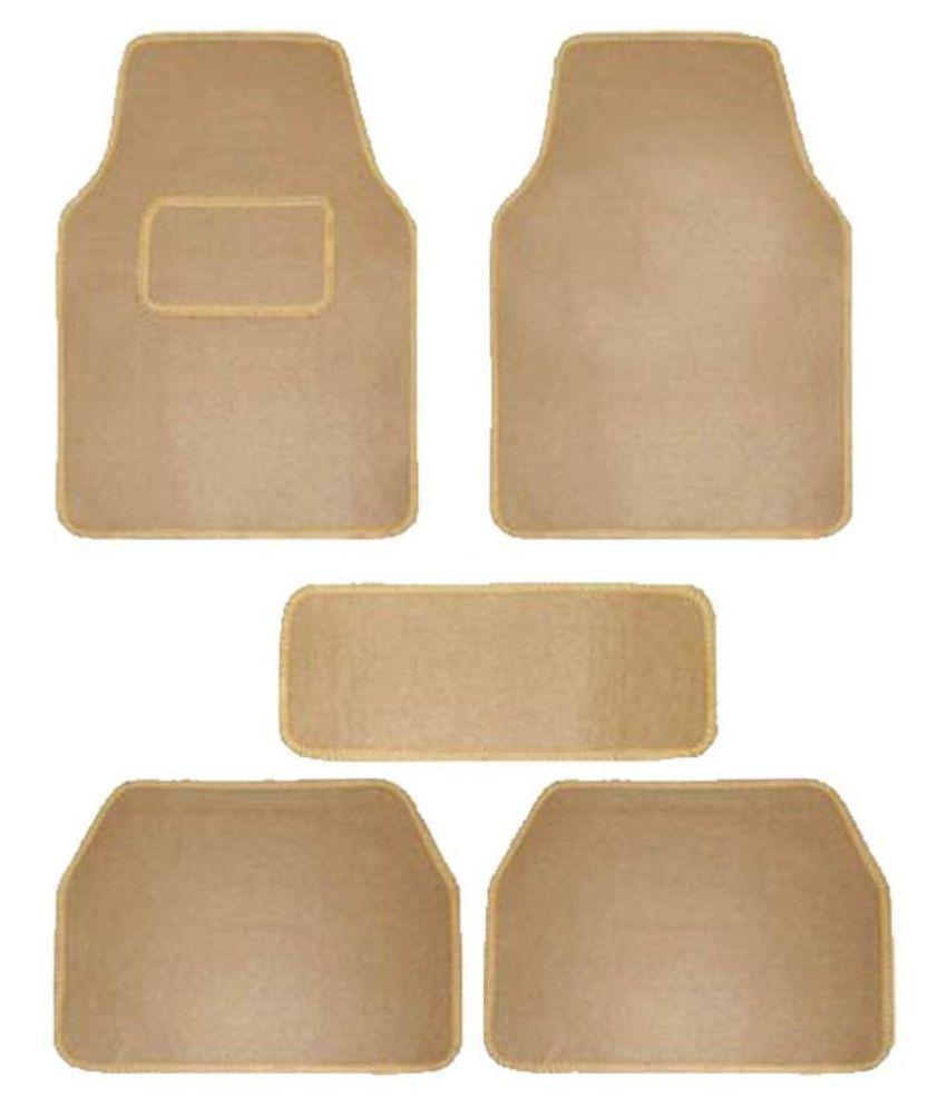Autofetch Carpet Car Floor/Foot Mats (Set of 5) Beige for Chevrolet Aveo UVA