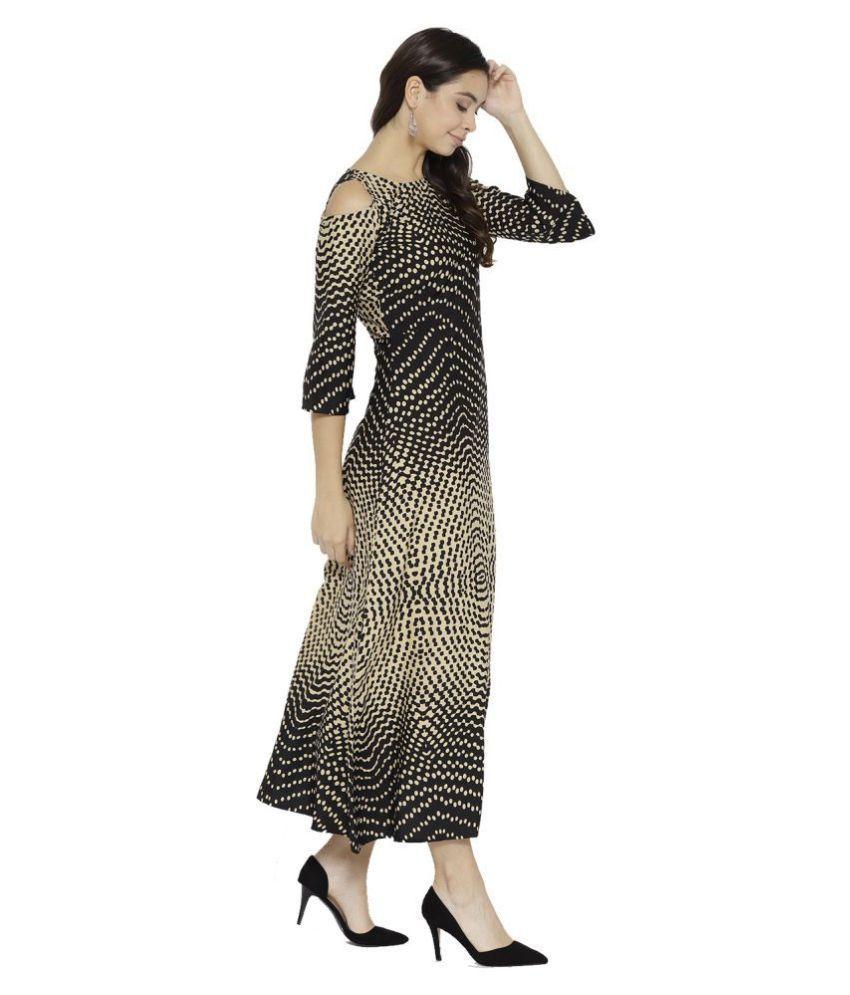 Cottinfab Crepe Beige A- line Dress
