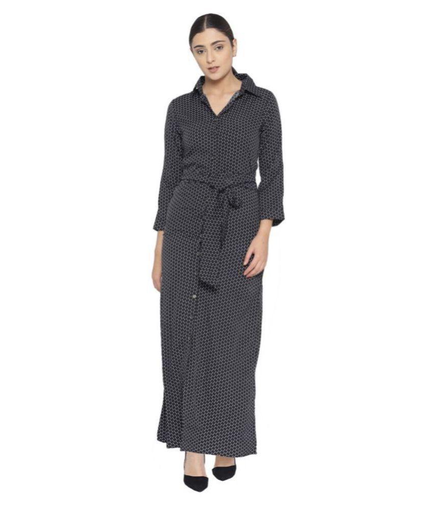 Cottinfab Crepe Black Shirt Dress