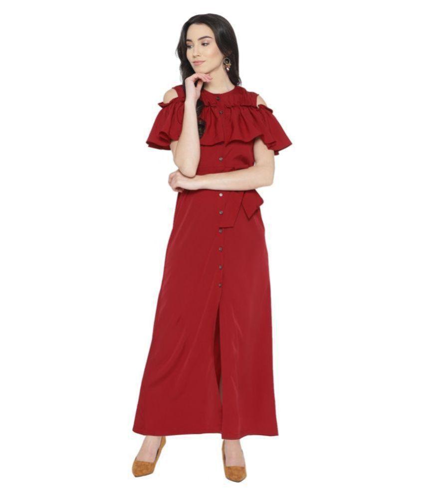 Cottinfab Crepe Maroon Cut Out Dress