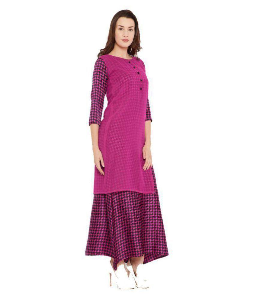 Cottinfab Crepe Pink A- line Dress