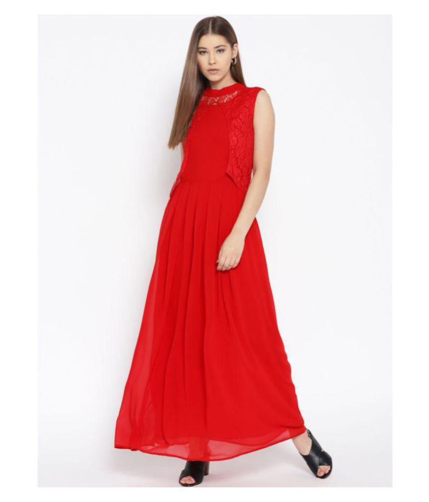 Cottinfab Georgette Red Fit And Flare Dress