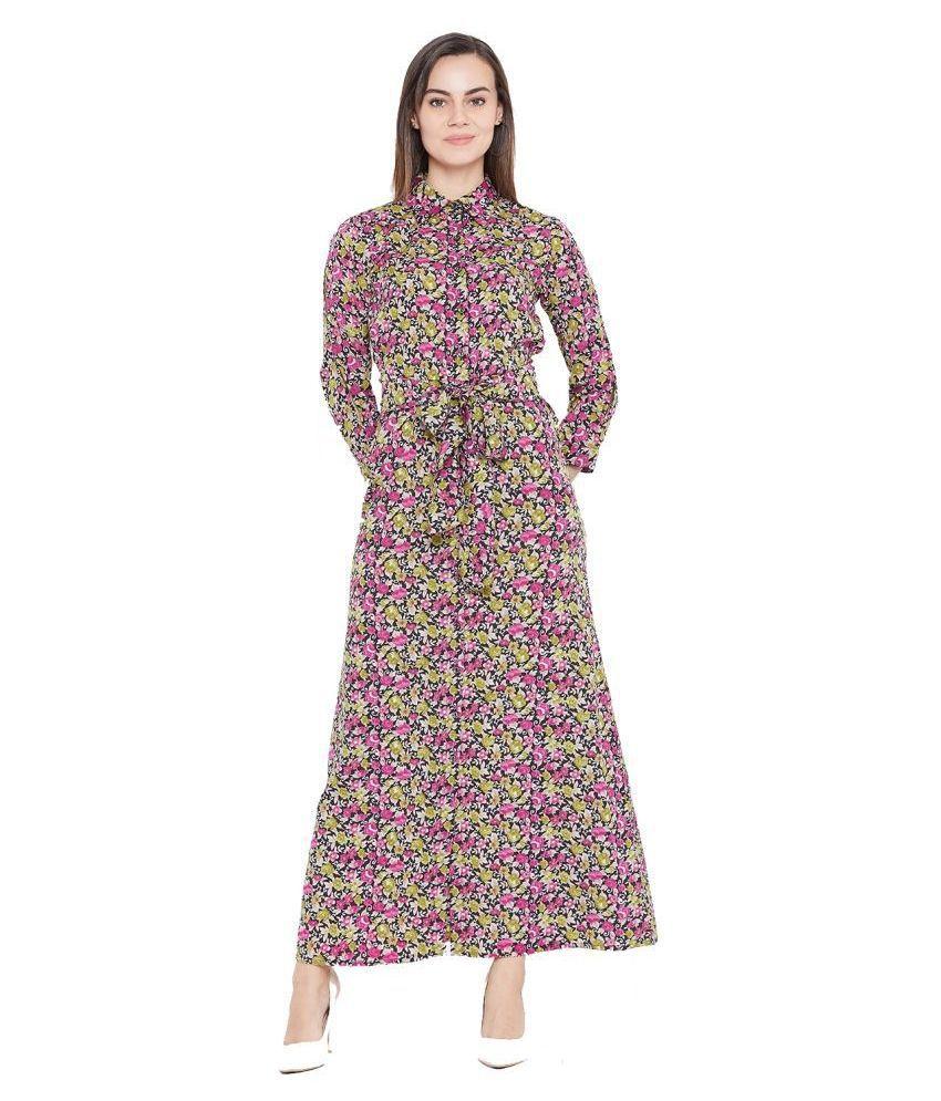 Cottinfab Poly Crepe Multi Color Shirt Dress