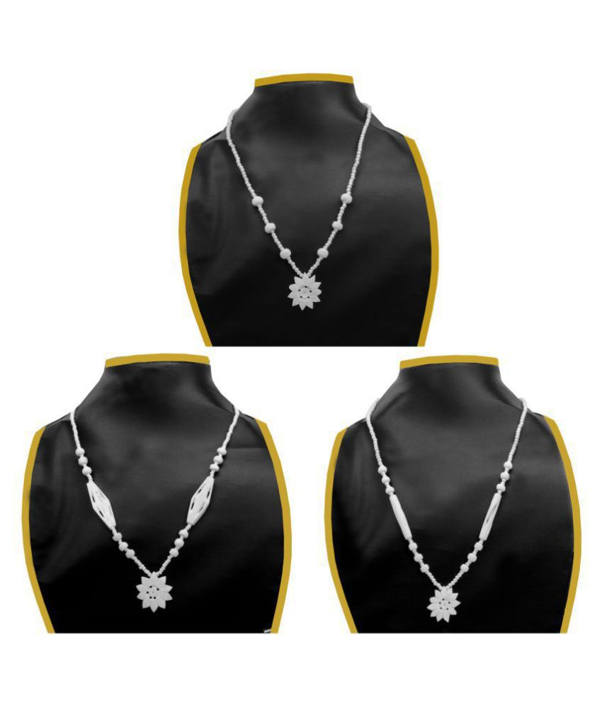 Jm Shell White Traditional Necklaces Set