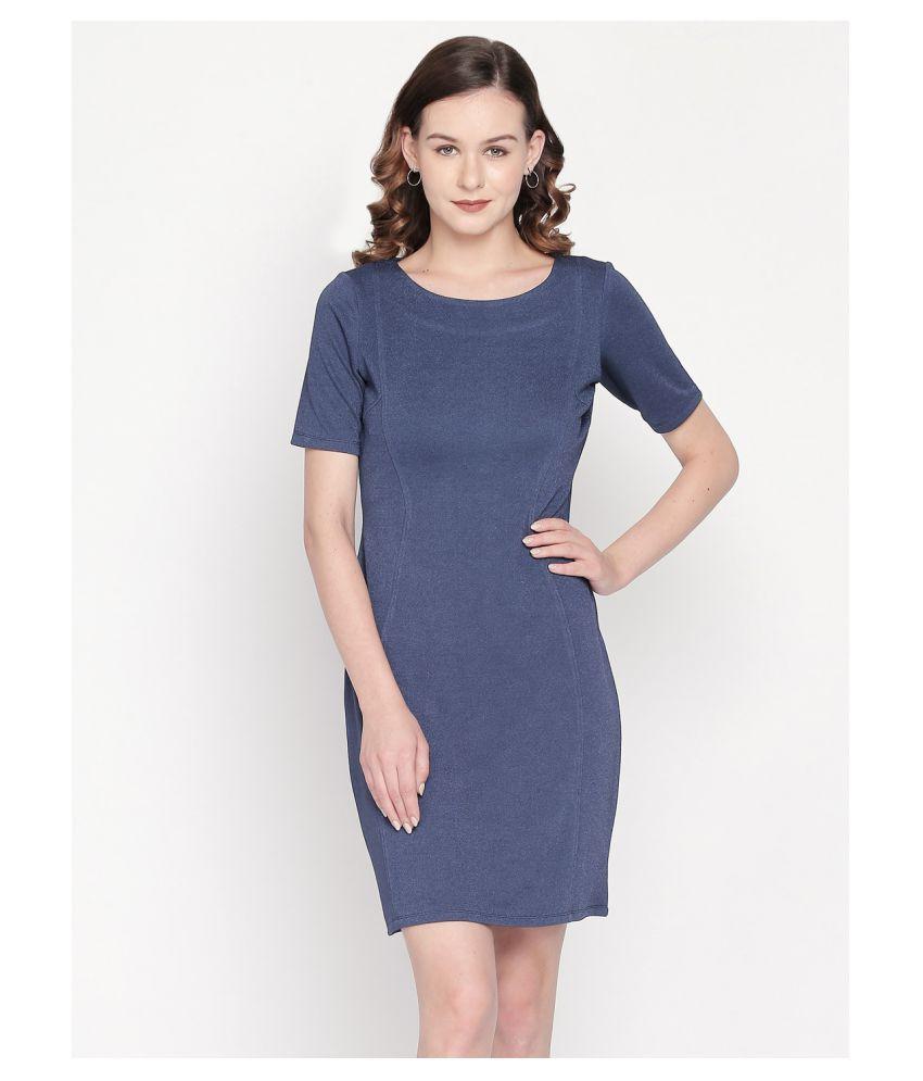 Mesmerize Polyester Blue A- line Dress
