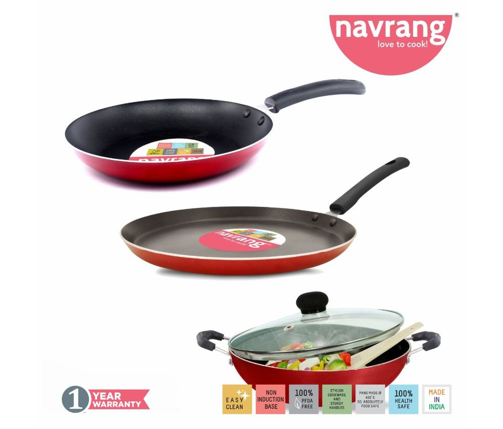 Navrang Non Stick Aluminium 3 Piece Gift Set Kadai 240 mm, Tawa 275 mm , Frypan 240mm  With Glass Lid , Red , -Non Induction '