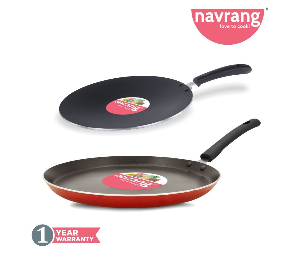 Navrang Nonstick Aluminium 2 PC Cookware Set ,Tawa 275 + Roti Tawa 280, Red  -Non Induction
