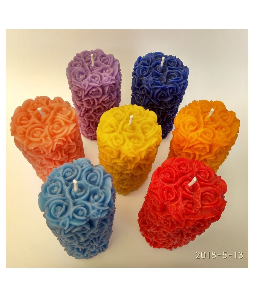 Shraddha Creation Multicolour Pillar Candle - Pack of 7