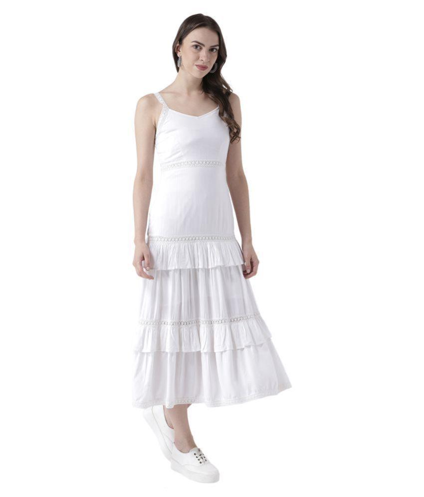 DODO & MOA Viscose White Shift Dress