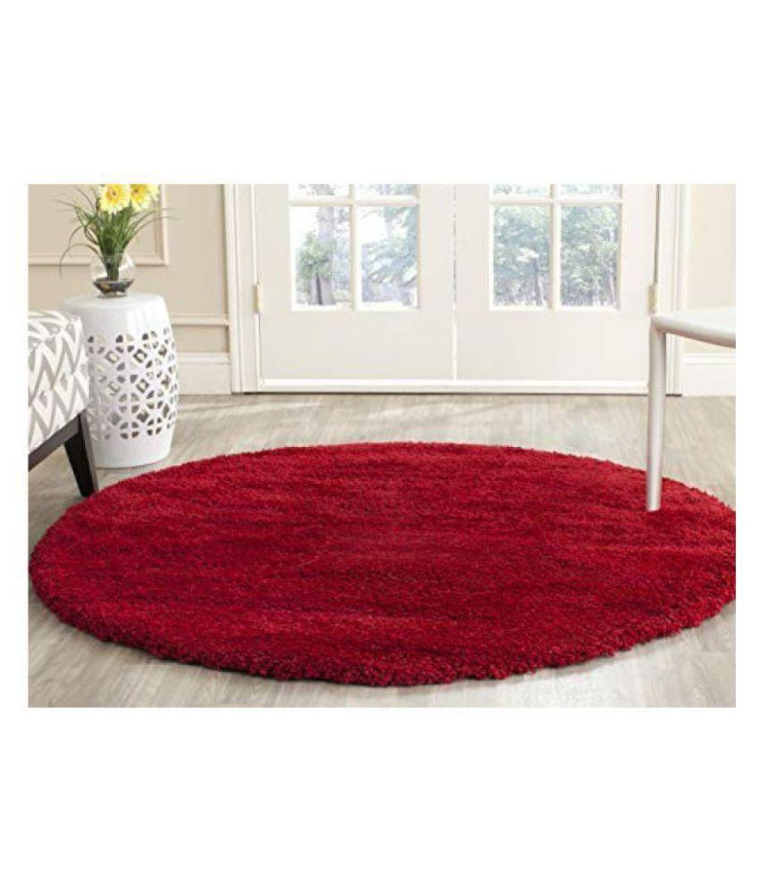 FEERIHA Red Shaggy Carpet Plain 2x2 Ft