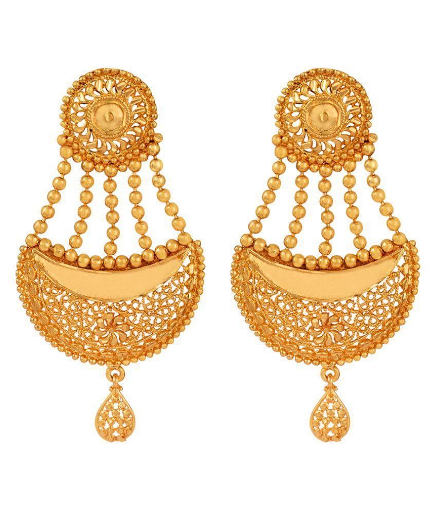 Jfl Jewellery For Less One Gram Gold Plated Filigree Jali Work Chand Bali Dangler Earrings