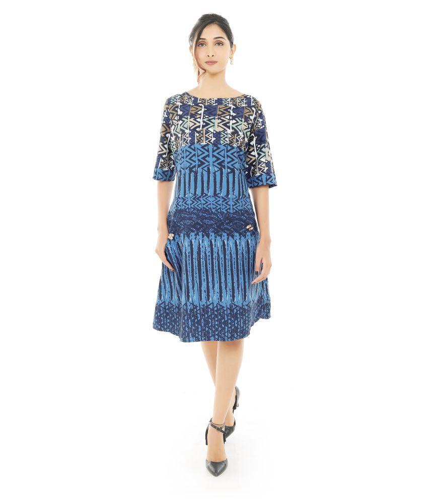 Fashion Tadka West Crepe Blue A- line Dress
