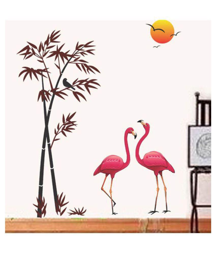 HOMETALES Pink Flamingos & Bamboo at Sunset Sticker ( 150 cm x 125 cm)