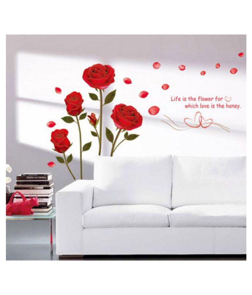 HOMETALES Romantic Rose Flowers Sticker ( 120 cm x 75 cm)