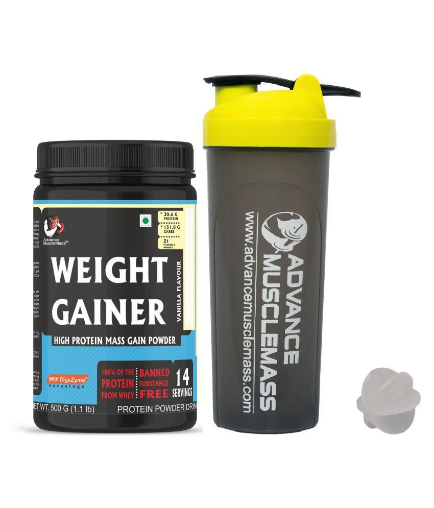 Advance MuscleMass Weight Gainer Enzyme BlendWith Shaker 500 gm Weight Gainer Powder