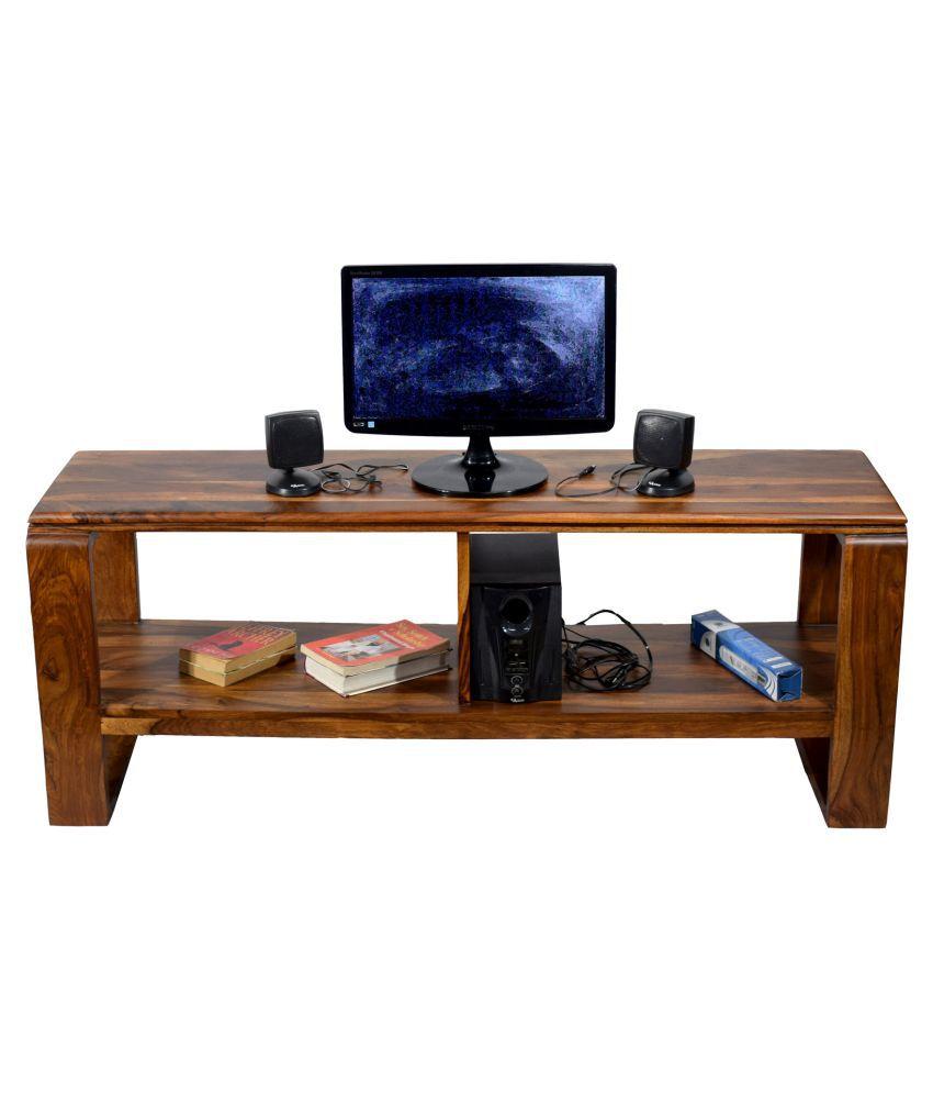 Timbertaste Sheesham Solid Wood SHENOY Natural Teak Finish TV Cabinet Entertainment Unit