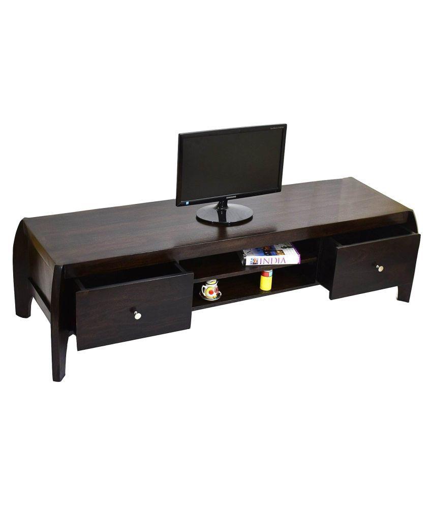 Timbertaste Sheesham Wood Dark Walnut Finish Open TV Unit Cabinet
