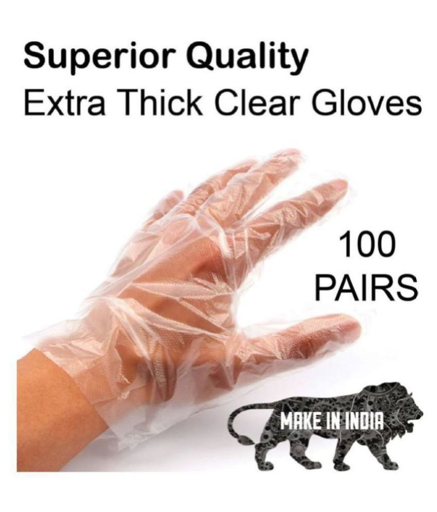 Buzz Transparent Disposable Plastic Universal Size Cleaning Glove