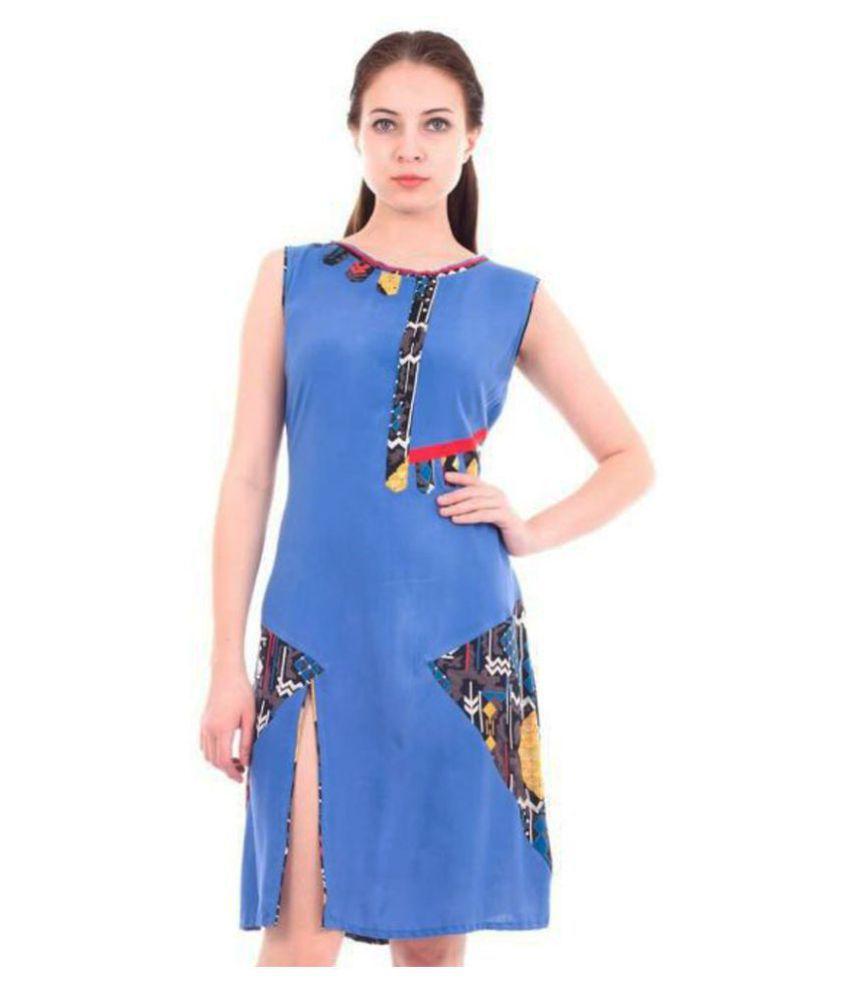 Forever9teen Rayon Blue Regular Dress