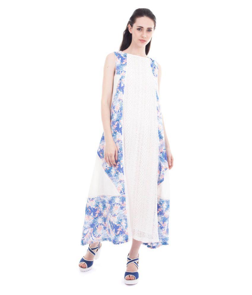 Forever9teen Rayon White Regular Dress
