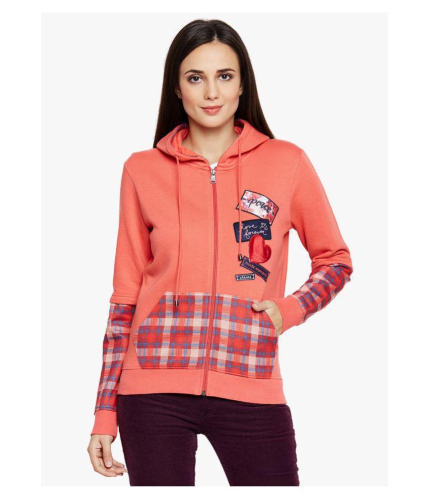 Moda Elementi Fleece Orange Hooded Sweatshirt