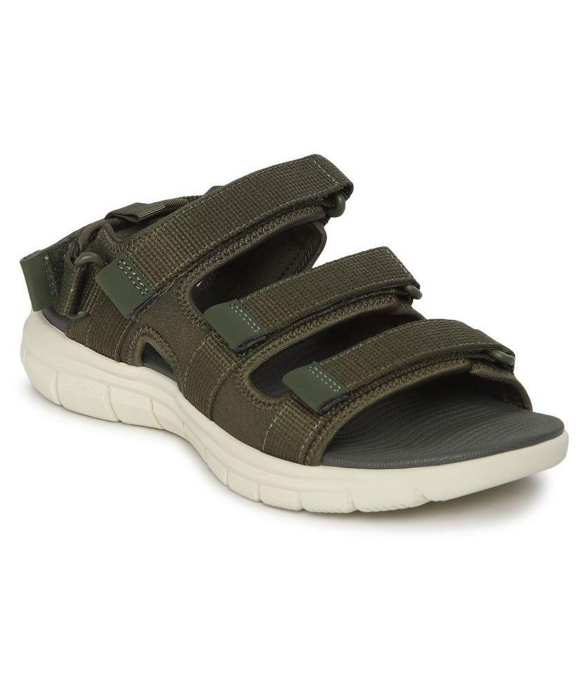 Red Tape Olive Textile Floater Sandals