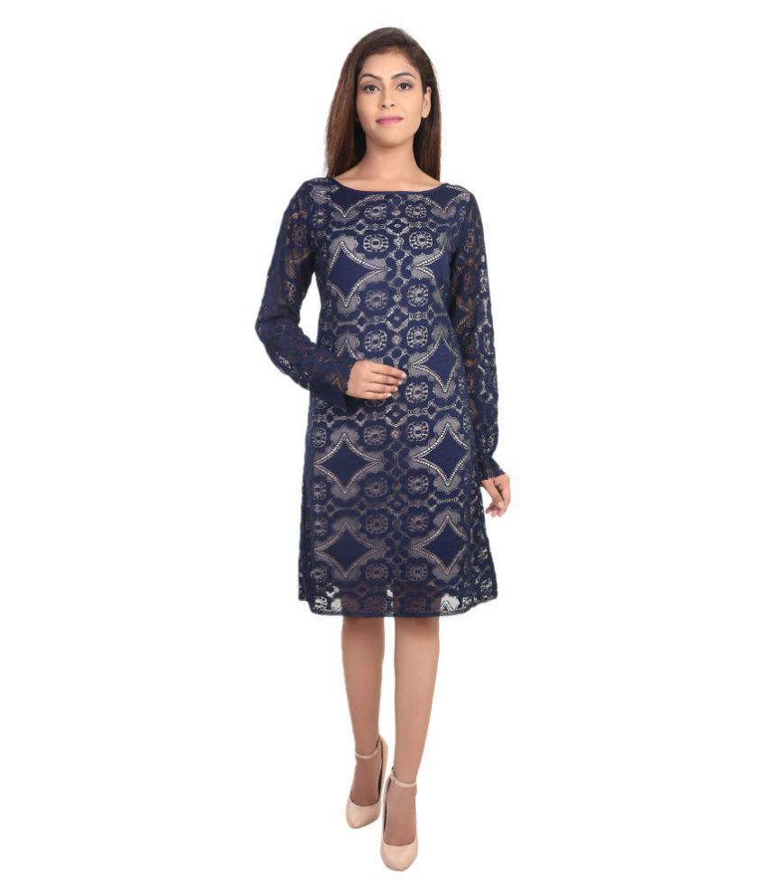 9teenAGAIN Lace Blue Asymmetric dress