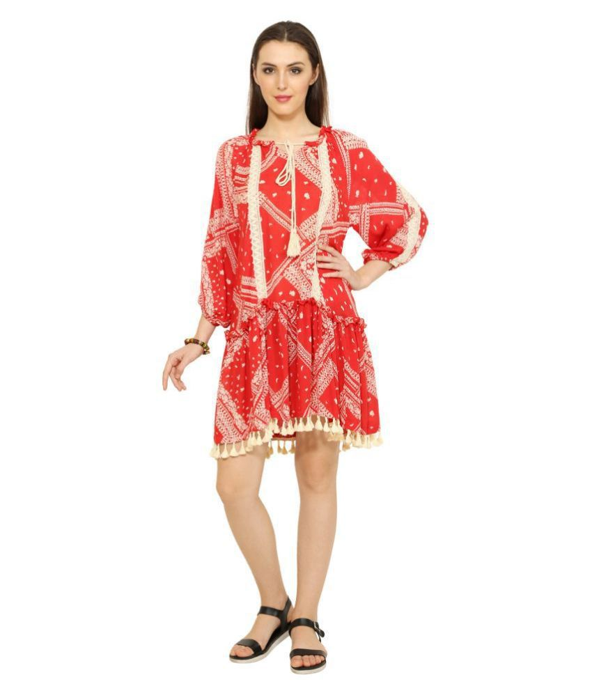9teenAGAIN Rayon Red Asymmetric dress