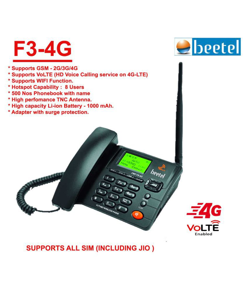 Beetel F3-4G Wireless GSM Landline Phone ( Black )