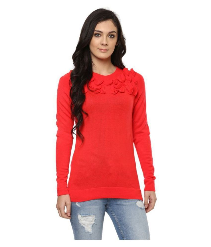Moda Elementi Cotton Blend Red Pullovers