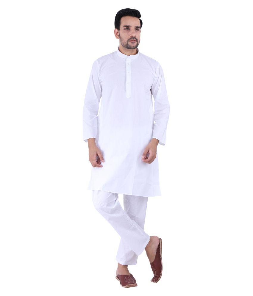 Tau-G White Cotton Kurta Pyjama Set Pack of 1