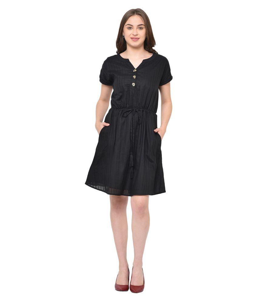 2Bme Rayon Black Bodycon Dress