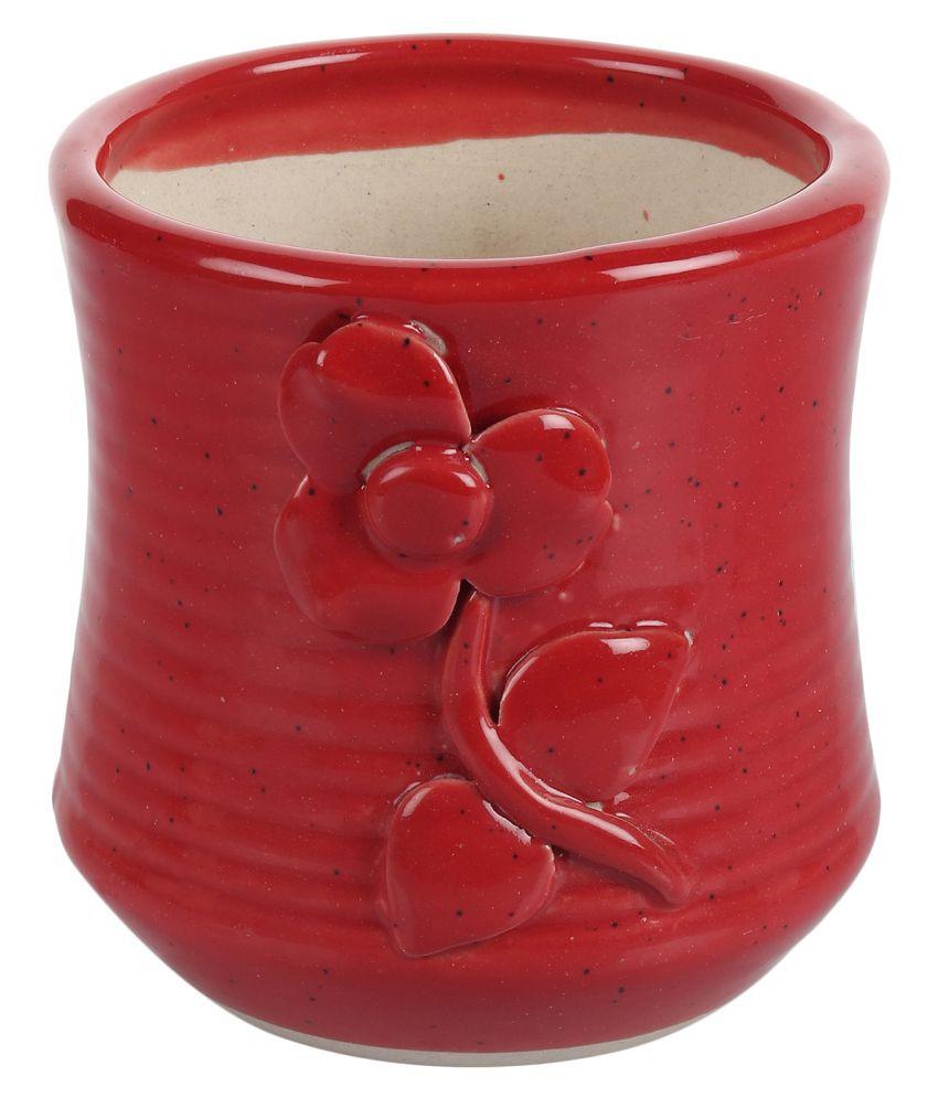 Metier Ceramic Planter Pot -1Pc Red Outdoor Indoor Nursery Pot