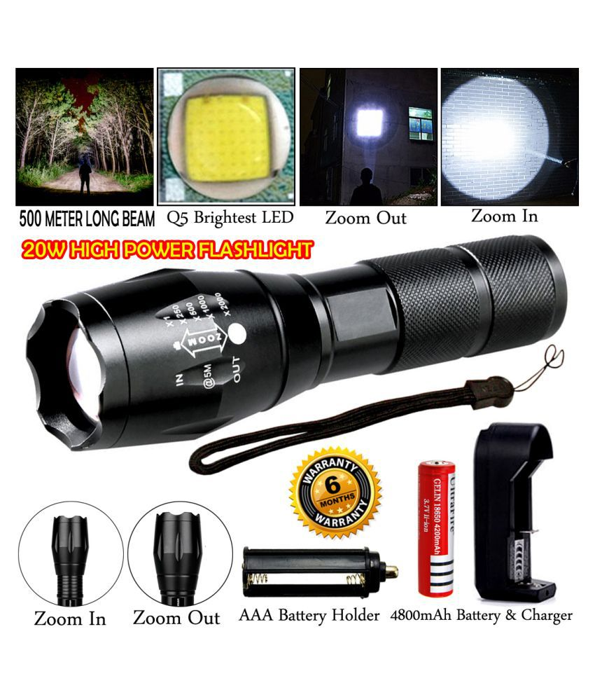 DGM 500 Meter Beam Zoomable Waterproof Chargeable LED 5 Mode Full Metal Body 20W Flashlight Torch Home / Outdoor Lamp - Pack of 1